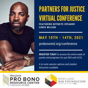Partner for Justice Virtual Conference Logo - Picture of Chris Wilson, Keynote Speaker. May 10-14